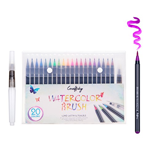 Graffiky - Watercolor Brush Pens Kit | 20 Premium Colors | Professional Durable Painting Washable Artist Markers | Portable Calligraphy