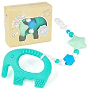 Teething Pain Relief Toy and Universal Pacifier Clip for Stylish Little Girl - Turquoise Elephant Teether and Binky Holder Set - Best Unique Gift for Easter, Baby Shower - BPA Free Silicone