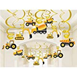 Construction Zone Party Supplies - Car Birthday Hanging Swirl Decorations - 30 PCS