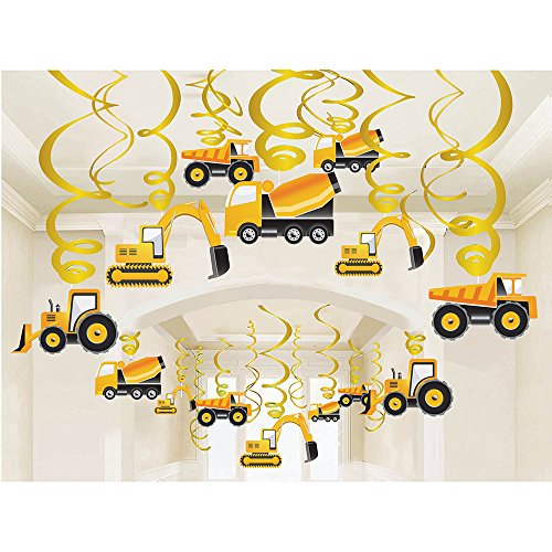LINDOO 30PCS Construction Zone Party Supplies - Car Birthday Hanging Swirl Decorations -