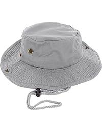 ce691f6f5d2 100% Cotton Boonie Fishing Bucket Men Safari Summer String Hat Cap (15+  Colors