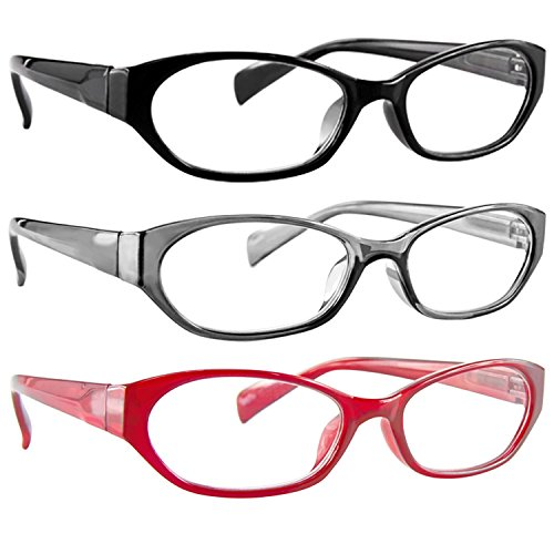 Reading Glasses 1.50 Red Gray Black (3 Pack) 9502 TruVision Readers