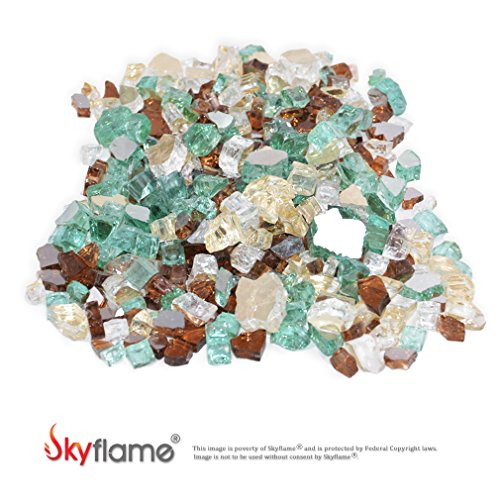 Skyflame 10-Pound Blended Fire Glass for Fire Pit Fireplace Landscaping, 1/2-Inch Gold, Light Green, Copper, Reflective by Skyflame