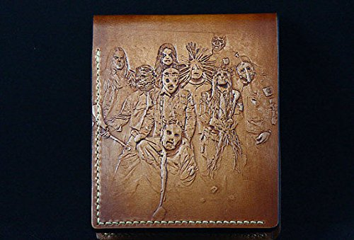 Slipknot band hand, Leather Wallet, 3D Genuine Leather Wallet, Hand Carved, Leather Carving, Carving Wallet
