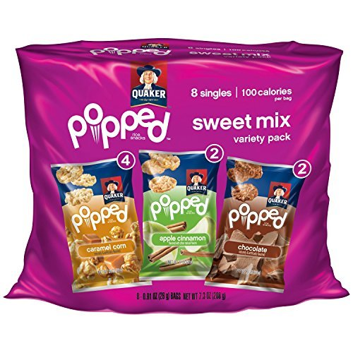 - Quaker Popped Rice Snacks Variety Pack (Caramel Corn - Apple Cinnamon - Chocolate) 8 Singles Bags (7.3 Oz Single Package)