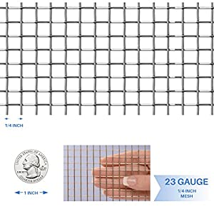 "E&K Sunrise 36"" x 25' Hardware Cloth 1/4 inch 23 Gauge Wire Mesh Galvanized for Garden Plant Rabbit Chicken Run Chain Link Fencing Guard Cage - Customize Available"