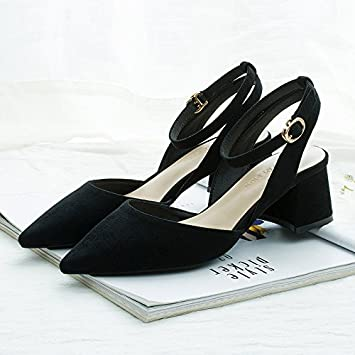Jqdyl High Heels Spitz High Heels weiblich dick mit Sommer neuen Stil mit einem Wort Schnalle Sandalen weiblich dick mit