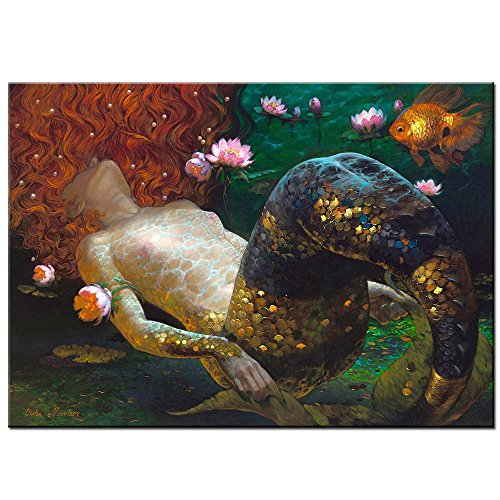 Scenery Oil Painting - LKY ART Wall Art Oil Painting Abstract Art Wall Scenery Picture For Living Room Wall Decor Oil Paintings Framed Stretched Easy To Hang 24X36Inches (Mermaid Abatract)