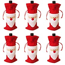 Christmas Wine Gift Bags Drawstring Christmas Red Wine Bottle Cover Bags (6 PCS)