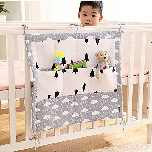 Amrka 9 Pockets Baby Crib Nursery Organizer Cot Storage Bag Tidy Bumper Diaper Stacker (3#)