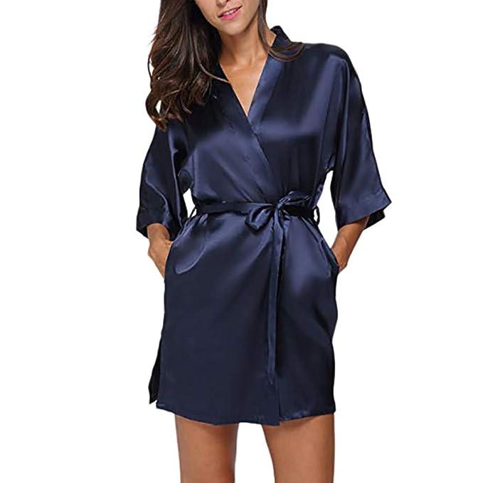 TIFIY Ropa Interior Lencería Mujer Seda Bata de Encaje Babydoll Camisón Pijama de Encaje Sexy Camisón