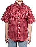 Farmall IH Men's Western Plaid Short Sleeve Shirt 2 Red Plaid M