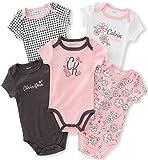 Calvin Klein Baby Girls 5 Packs Bodysuits, Charcoal, 0/3M