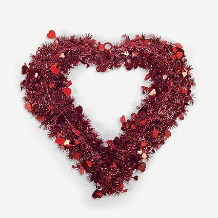 Amazon Com V Day Decor Red Glitter Heart Shaped Tinsel Garland