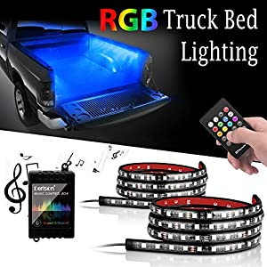 Truck Bed Rail Lights ,Derlson Truck Bed Lighting Kit LED Strip Lights with On/Off Switch and Fuse for Trucks, Trailers, Pickups, RVs, Vans and Cargos [ RGB LEDs , IP67 Waterproof ,Circuit Protection]