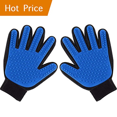 ENJOY PET Pet Hair Remover Glove for Dog, Grooming Gloves Brush, Cat Shedding Glove, Gentle and Efficient Hair Groomer, Pet Grooming Mitt De-shedding Massaging Tool Dog/Cat/Horse Combs (Blue)