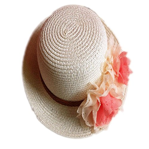 Rejected all traditions Lightweight Cream White Floppy Two Flowers Straw Beach Sun Hat Cap for Kids Girls