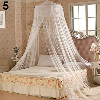 White Sukisuki Summer Mosquito Net Round Bed Canopy Fly Insect Net Protection