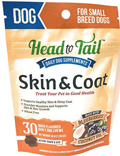 - Head to Tail, Skin & Coat Daily Chews, Made with Blueberries & Coconut Oil, Small Breed Dogs up to 25lbs, Wheat Free, 30 Chew Packet