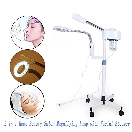 2 in 1 3x Magnifying Lamp with Facial Steamer, Cold Light/LED Light Magnifying Floor Light Skincare Tattoo Manicure Beauty Spa Makeup Light with Rolling Wheel Stand US (3 X Magnifying LED Light)