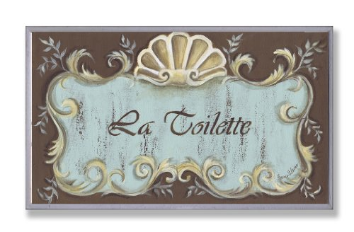 Stupell Home Décor La Toilette Aqua And Brown Scallop Shell Crest Bathroom  Wall Plaque, 10 X 0.5 X 15, Proudly Made In USA