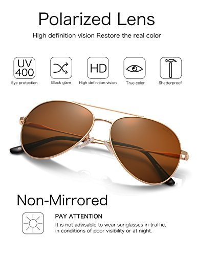 LUENX Men Women Aviator Sunglasses Polarized Brown Lens Metal Frame UV 400 59MM Driving Fashion with Accessories by LUENX (Image #1)