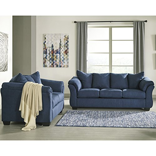 Flash Furniture Signature Design by Ashley Darcy Living Room Set in Blue Microfiber