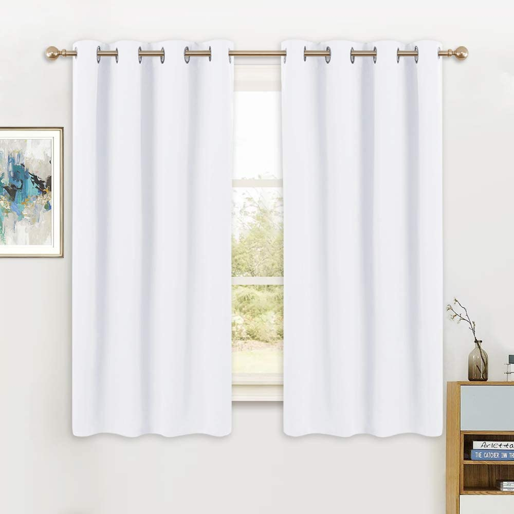 PONY DANCE White Window Curtains - Double Curtain Panels Energy Saving Window Drapes/Home Decoration Modern for Kids/Living Room, 52 Wide by 63 Inches Long, Pure White, 2 PCs
