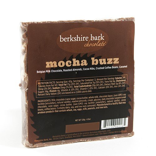 Artisan Cocoa Butter - Berkshire Bark Artisan Chocolate Bar - Mocha Buzz (4 ounce)