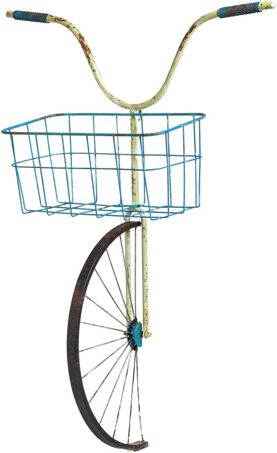 Front Basket Bicycle Wall Décor/Planter - 22 x 8 x 31 Inches