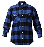 Rothco Heavy Weight Plaid Flannel Shirt, Blue, X-Large
