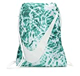 NIKE Young Athlete Drawstring Gymsack Backpack Sport Bookbag (Emerald Splash Graphics/White Signature Large Brand Name Logo and Swoosh) Review