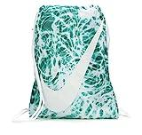 NIKE Young Athlete Drawstring Gymsack Backpack Sport Bookbag (Emerald Splash Graphics/White Signature Large Brand Name Logo and Swoosh)