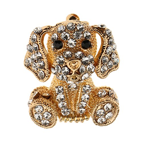 Baoblaze Silver/Gold Plated Full Crystal Rhinestone Pet Dog Brooch Pin Jewelry Gift - Gold