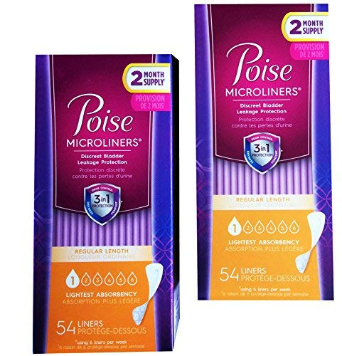 Poise Microliners, incontinence panty liners, lightest absorbency, regular, 54 Count, PACK OF 2