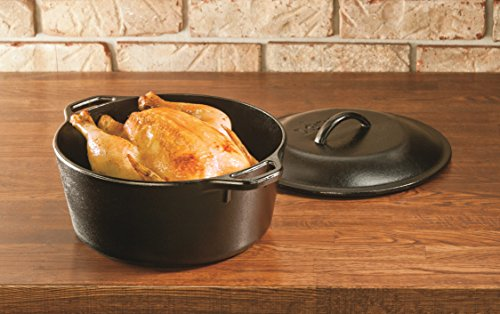 Lodge L8DOL3 Cast Iron Dutch Oven with Dual Handles, Pre-Seasoned, 5-Quart