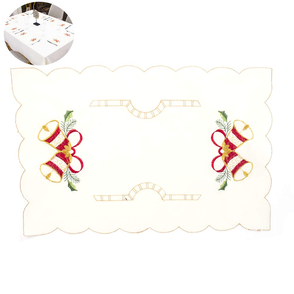 YaptheS 1pc Embroidered Christmas Placemat Holiday Jungle Bell Table Placemats Exquisite Table Mat 11''x 16.5'' inches Christmas Style