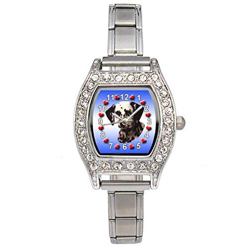 Timest - Dalmatian Dog - CZ Womens Stainless Steel Italian Charms Bracelet Watch BJS031