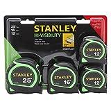 Stanley STHT74201 4-Pack Hi-Viz Locking Tape Measures 25-ft, 16-ft, & (2) 12-ft
