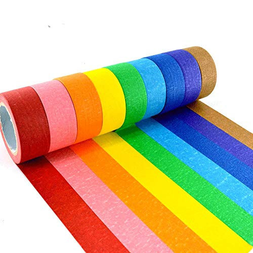 Colored Masking Tape, Crafts Tape Set, 9 Pack Decorative Art Tape for Kids, 1 Inch DIY Writable Rainbow Colors Labeling Tape Kit, Arts Supplies for Customization ()