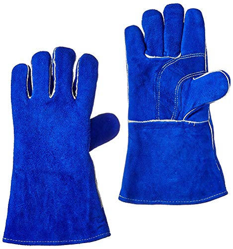 """US Forge 400 Welding Gloves Lined Leather, Blue - 14"""" (Premium Original)"""