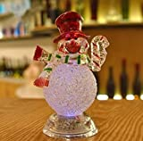 Acrylic Christmas Xmas Transparent Snowman LED Light Color Changing Home Decor by Superjune