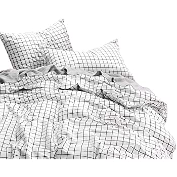 Wake In Cloud - Grid Duvet Cover Set, 100% Cotton Bedding, Black Grid Geometric Modern Pattern Printed on White, with Zipper Closure (3pcs, Full Size)