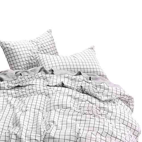 Wake In Cloud - Grid Duvet Cover Set, 100% Cotton Bedding, Black Grid Geometric Modern Pattern Printed on White, with Zipper Closure (3pcs, Full Size) (Full Covers Duvet For Size Bed)