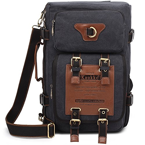 KAUKKO Outdoor Travel Men Backpack, Hiking Camping Canvas Rucksack (1black)