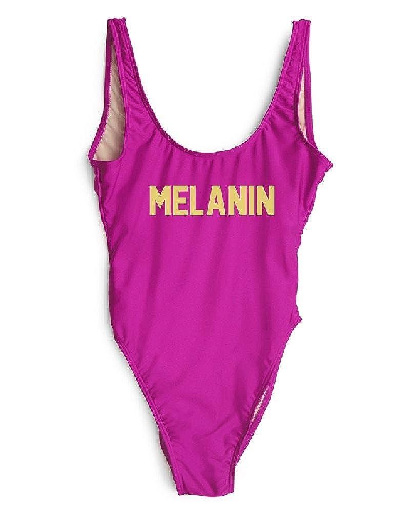 799ac72e57313 HK One Piece Swimsuit Melanin Letter Printing High Cut Low Back Femme  Beachwear at Amazon Women's Clothing store: