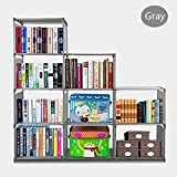 Fashine DIY Adjustable Bookcase, Bookshelf with 9 Book Shelves, Home Furniture Storage (Gray)