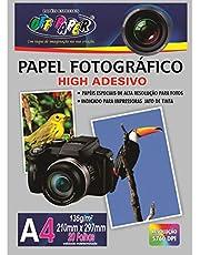 Papel Fotográfico A4 High Adesivo, Off Paper, 10063, Branco, 20 Folhas