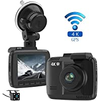 Laydran Dual Lens 4K Dash Cam Car DVR Dashboard Camera Recorder with Rear camera, Built-In WiFi & GPS, G-Sensor, 2.4 LCD, 150 Degree Wide-Angle Lens, Loop Recording, Great Night Vision