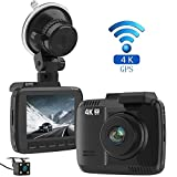 Laydran Dual Lens 4K Dash Cam Car DVR Dashboard Camera Recorder with Rear camera, Built-In WiFi & GPS, G-Sensor, 2.4'' LCD, 150 Degree Wide-Angle Lens, Loop Recording, Great Night Vision